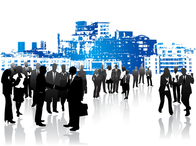 Business people and city stock illustration