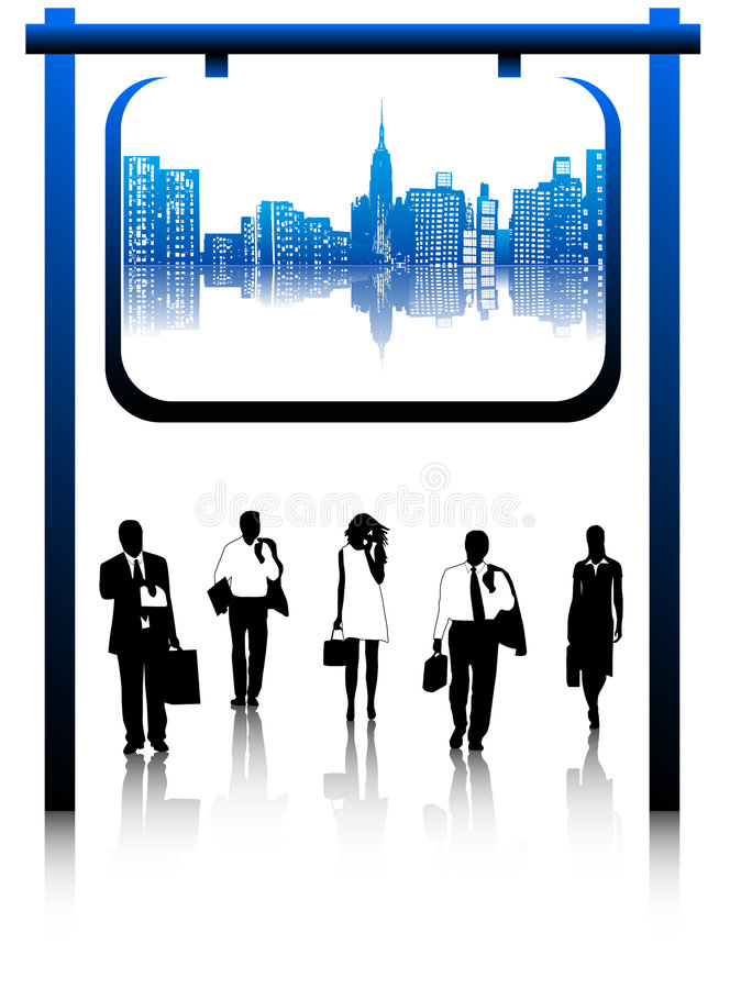 Business people and city vector illustration