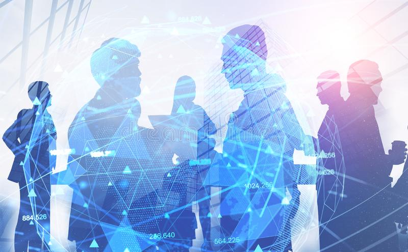 Business people in city, digital network. Business people silhouettes over abstract city background with double exposure of global digital network hologram stock images