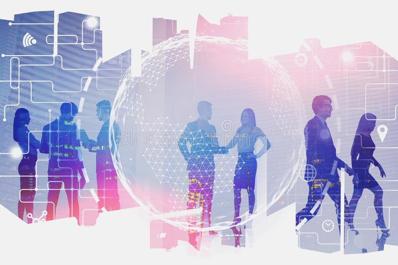 Business people in city, global connection. Silhouettes of business people communicating in modern city with double exposure of planet hologram and network royalty free illustration