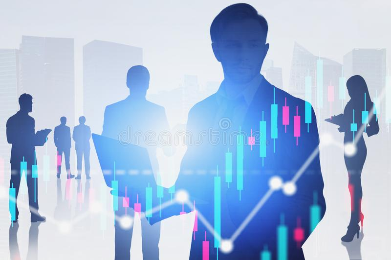 Business people in city, graphs royalty free stock images