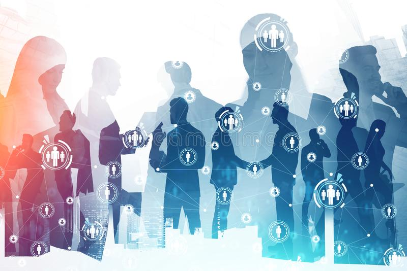Business people in city, HR HUD interface. Silhouettes of diverse business people in abstract city with double exposure of HUD HR interface. Concept of social stock image