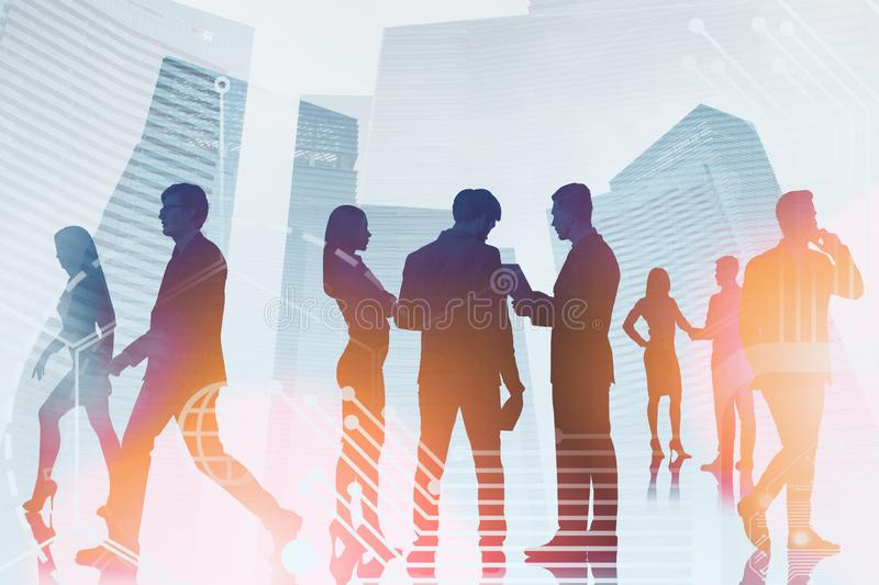 Business people in city, business interface stock photo