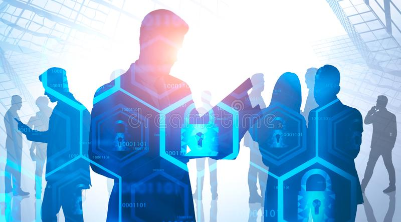 Business people in city, online security. Silhouettes of business people in city with double exposure of online security interface. Concept of data protection stock images