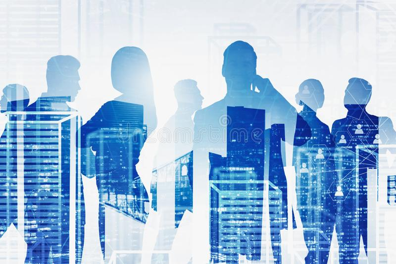 Business people in city, social network interface. Silhouettes of business people over night and virtual city background with double exposure of social network stock photo