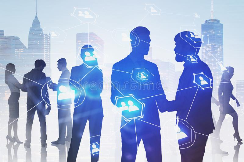 Business people in city, social network stock image