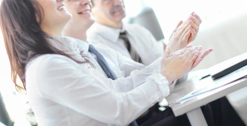 Business people clapping hands. Business seminar concept royalty free stock images