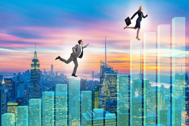 Business people climbing bar charts in growth concept royalty free stock photography