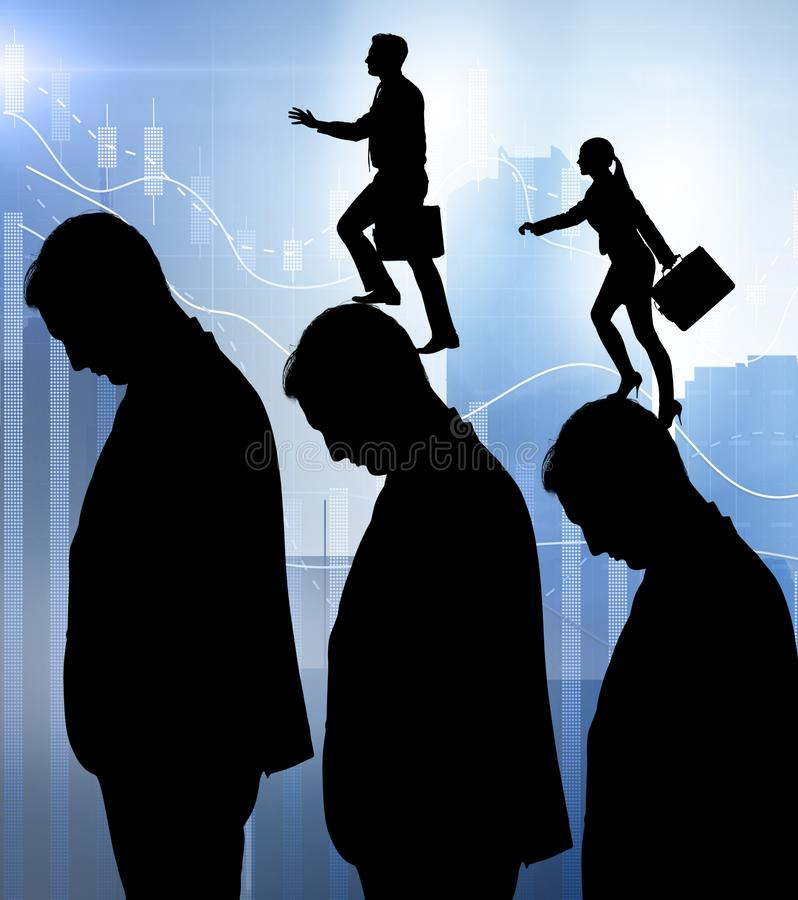 Business people climbing career ladder in business concept. The business people climbing career ladder in business concept stock photos
