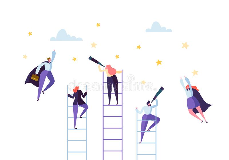 Business People Climbing on Ladder to Success. Competition Career Achieving the Goal Concept Businessman Flying to Stars vector illustration
