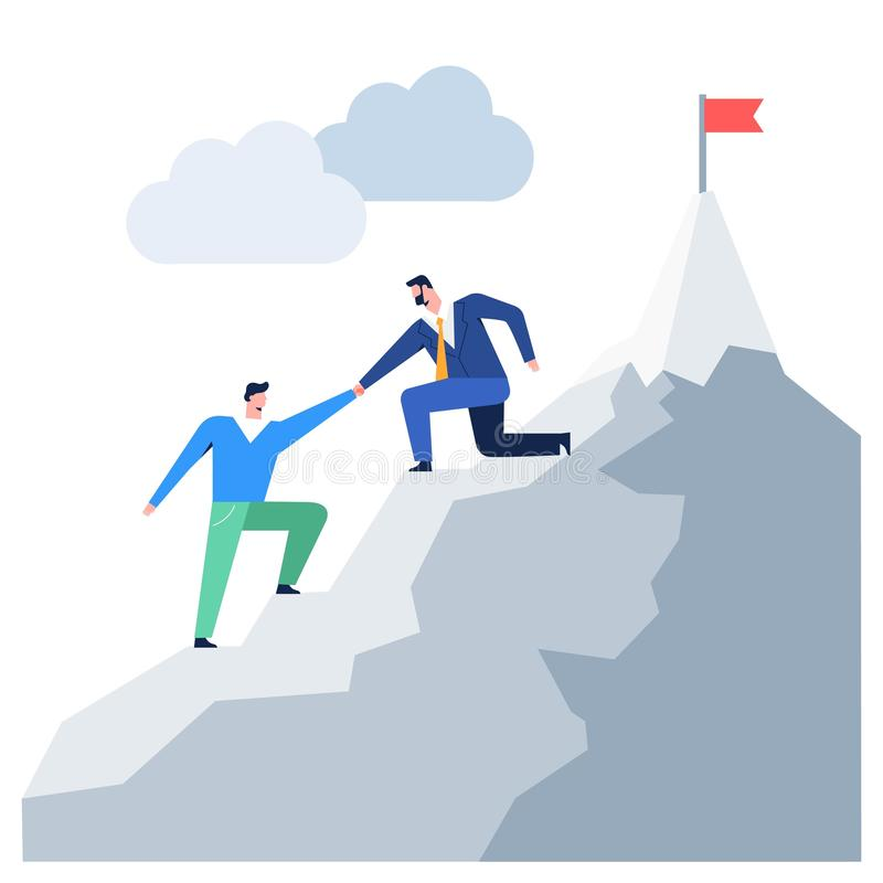 Business people climbing to mountain leader helping colleague reaching goal vector graphic vector illustration