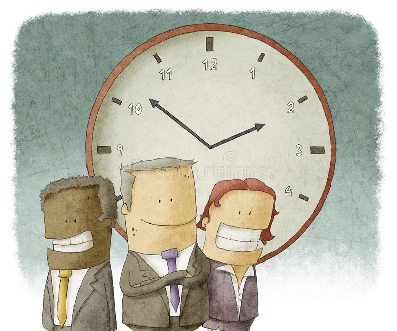 Business people with clock royalty free illustration