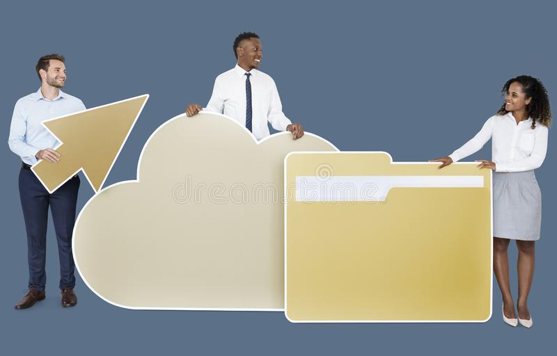 Business people and cloud computing icons royalty free stock photos