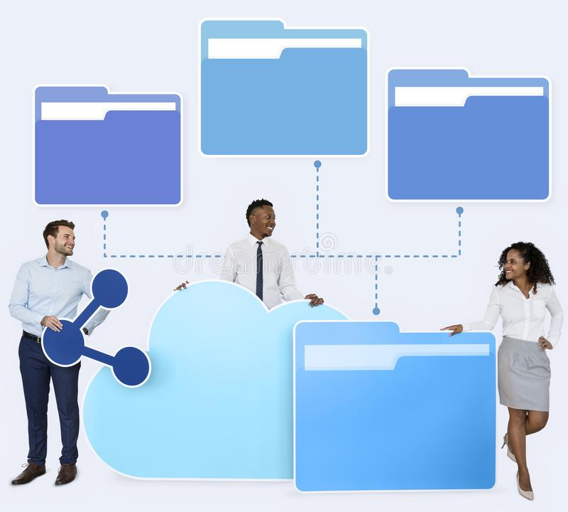 Business people and cloud computing icons stock photos