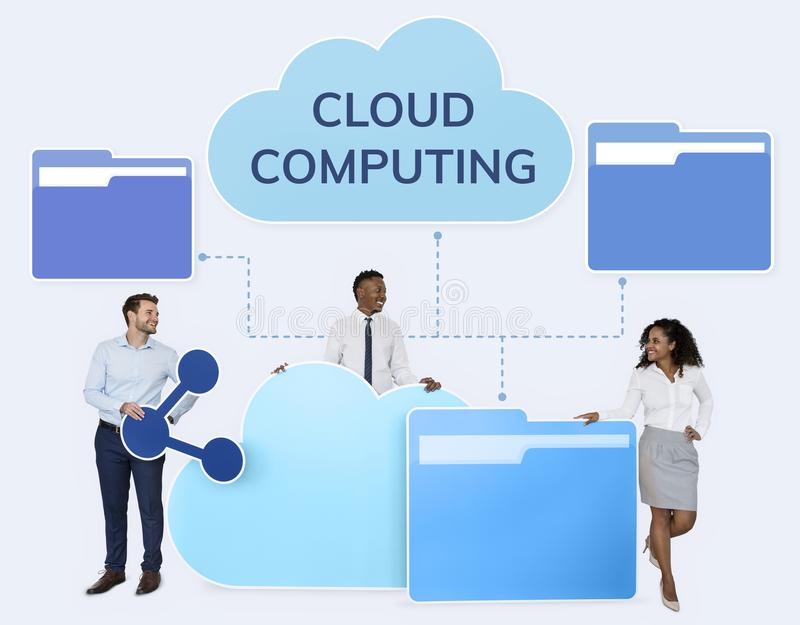 Business people and cloud computing icons stock images