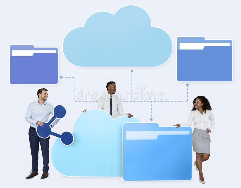 Business people and cloud computing icons stock image