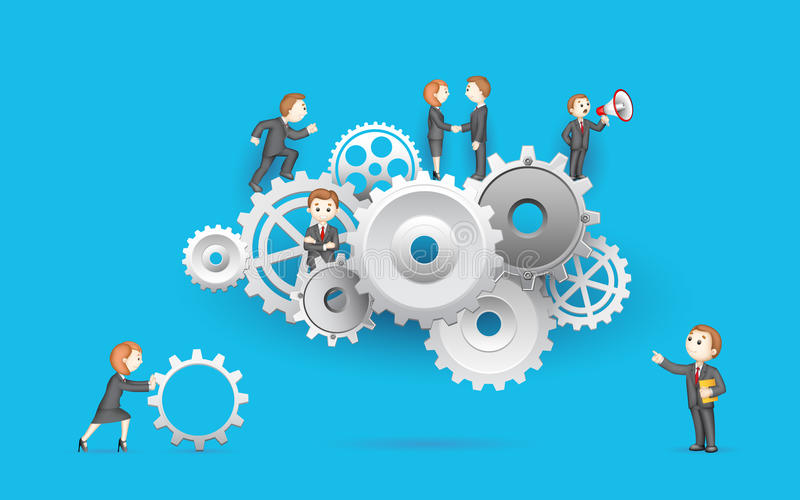Business People on Cog Wheel stock illustration