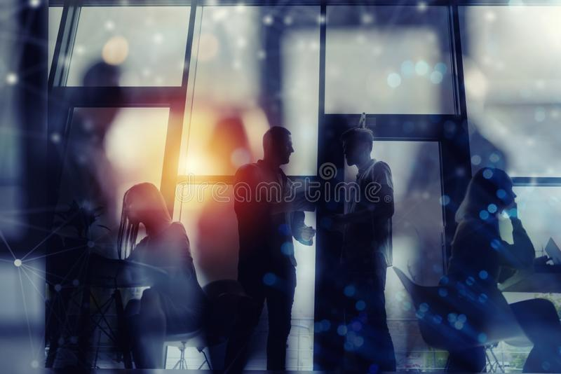 Business people collaborate together in office. Double exposure effects. Business people collaborate together in a modern office. Double exposure effects stock illustration