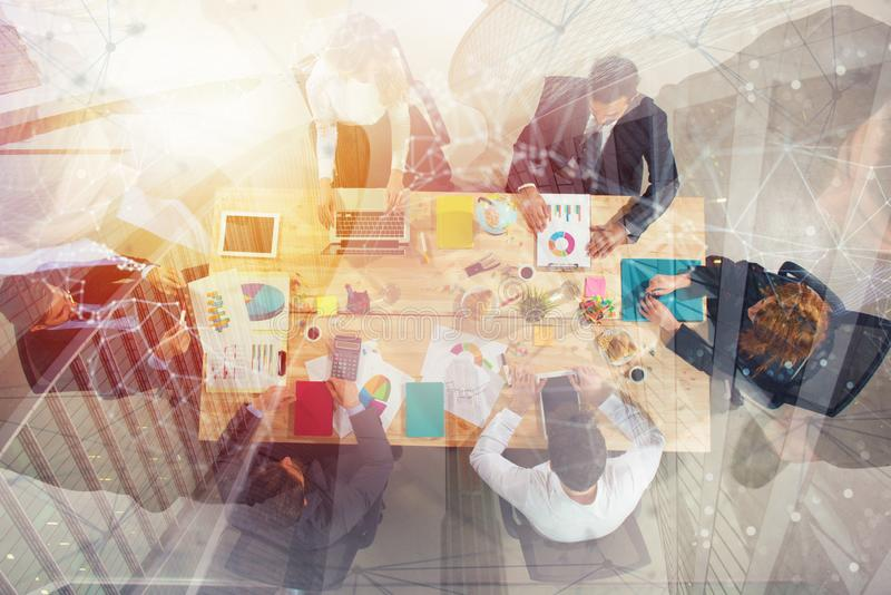 Business people work together in office. Concept of teamwork and partnership. double exposure. Business people collaborate together in office. Double exposure vector illustration