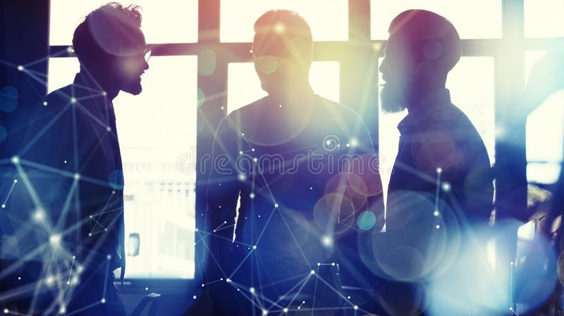 Business people collaborate together in office. Double exposure effects. Business people collaborate together in a modern office. Double exposure effects stock images
