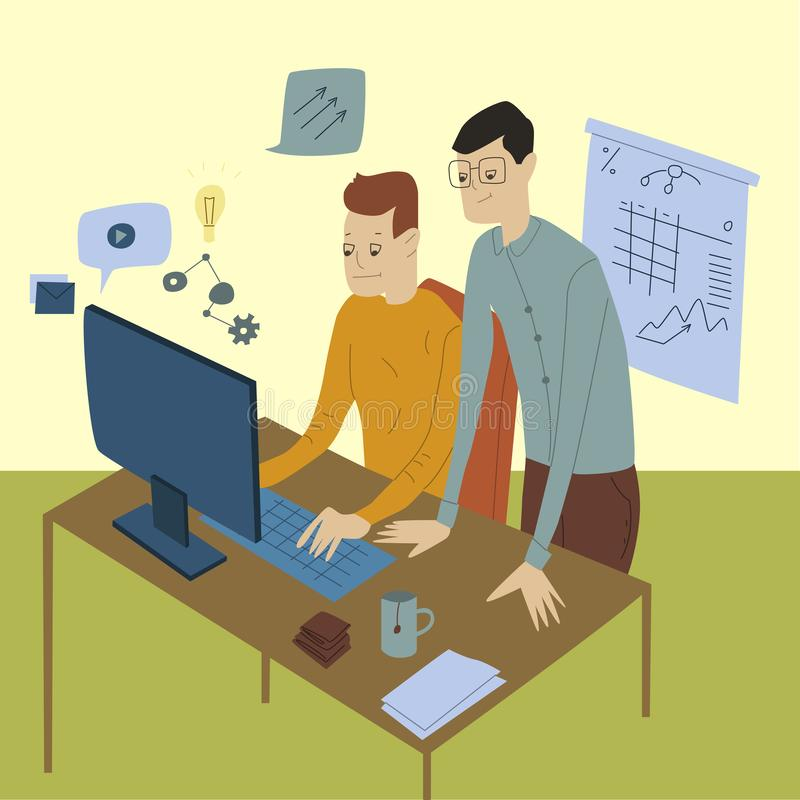 Business people, colleagues sitting at desk and working at computers in office. Flat design vector. Illustration stock photos