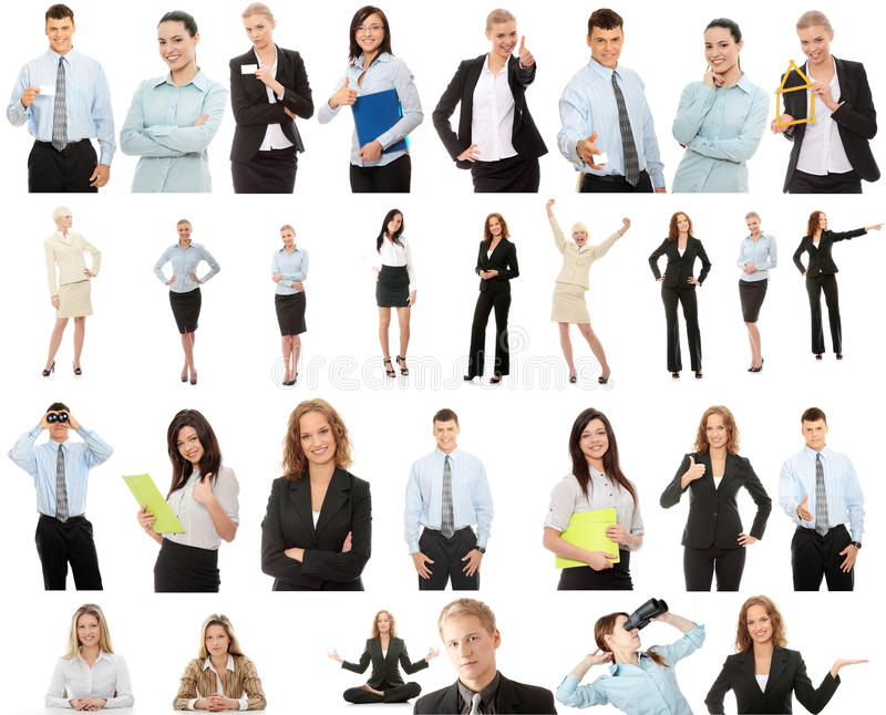 Business people collection. Isolated on white background royalty free stock images