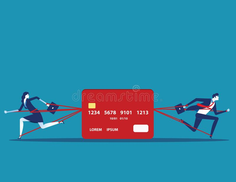 Business people and committed debt with credit card. Concept business vector illustration vector illustration