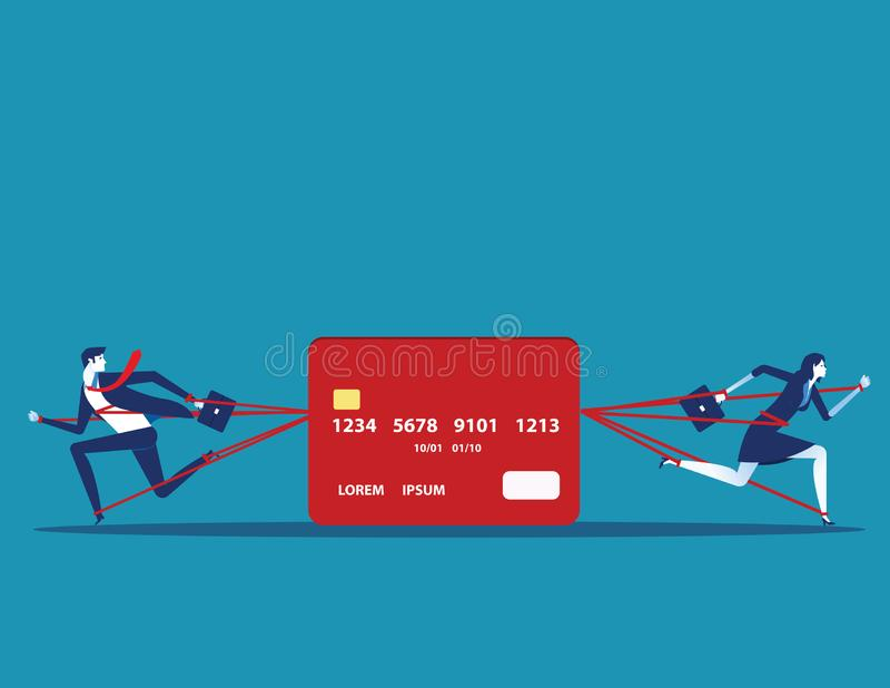 Business people and committed debt with credit card. Concept business vector illustration stock illustration