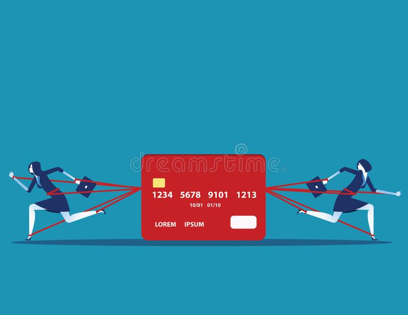Business people and committed debt with credit card. Concept business vector illustration royalty free illustration