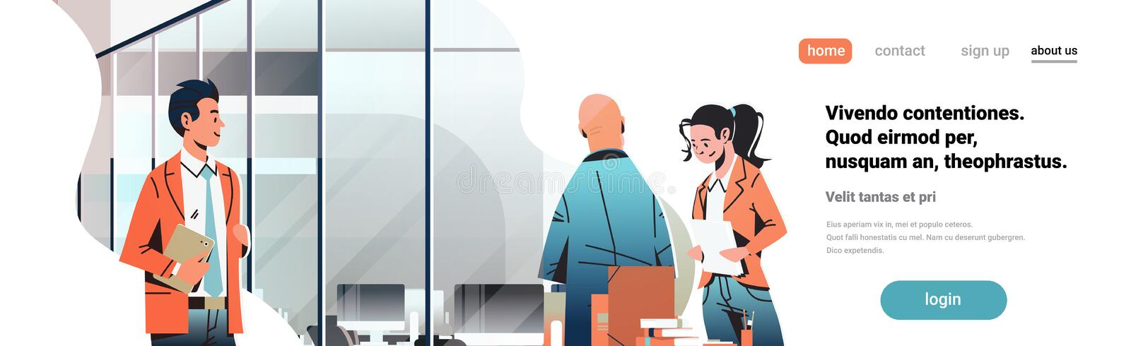 Business people communicating concept modern coworking office interior creative workplace male female cartoon character. Portrait horizontal banner copy space vector illustration