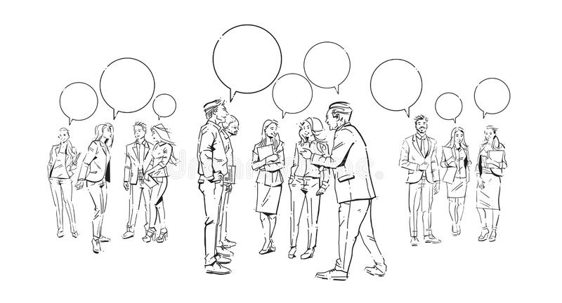 Business people communication bubbles chat, agreement in front of businesspeople discussion colleagues communicating royalty free illustration