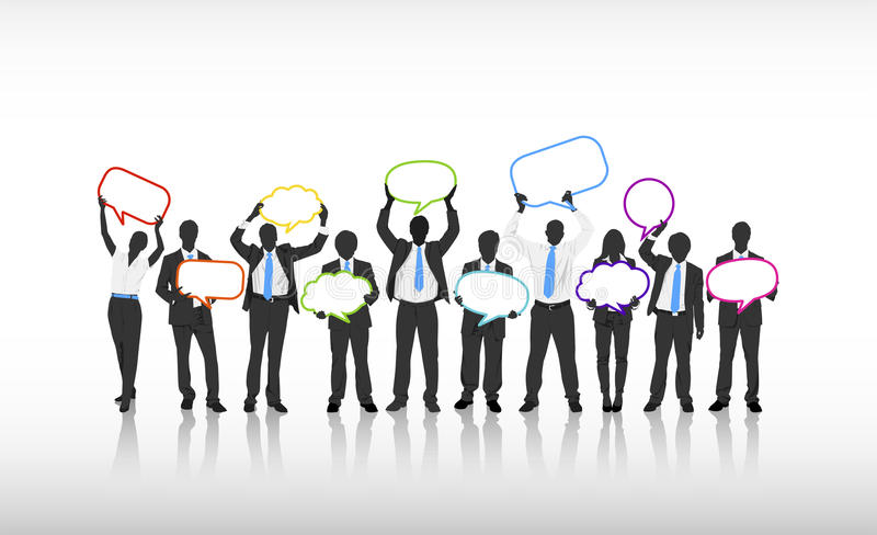 Business People Communication Holding Empty Speech Bubble Concept royalty free illustration