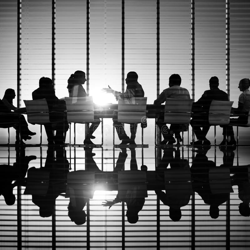 Conference Room With People Black And White