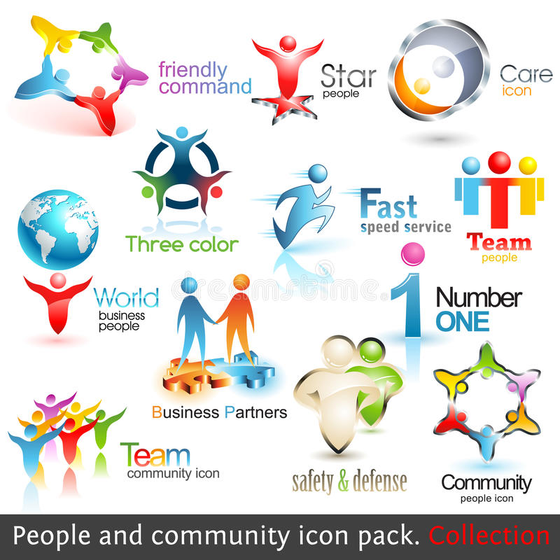 Business people community 3d icons royalty free illustration