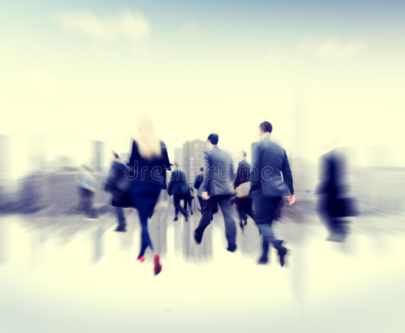 Business People Commuter Walking Rush Hour Corporate Concept.  royalty free stock photos