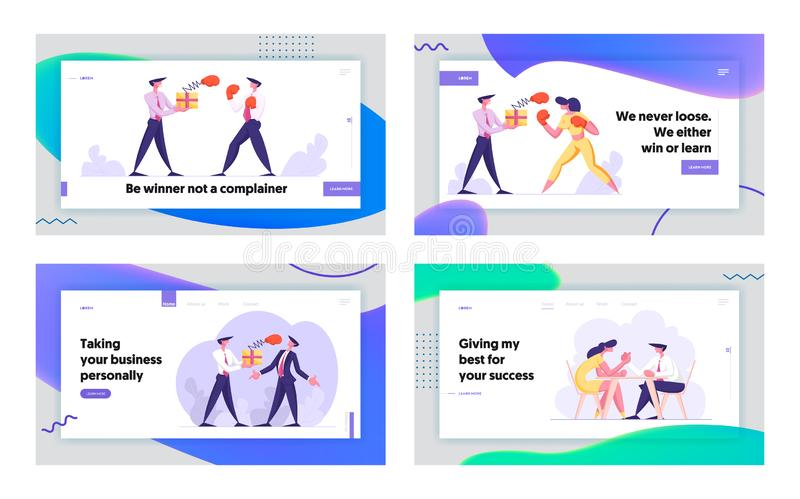 Business People Competition Website Landing Page Set. Woman Fighting with Man Holding Box with Pop Up Boxing Glove stock illustration
