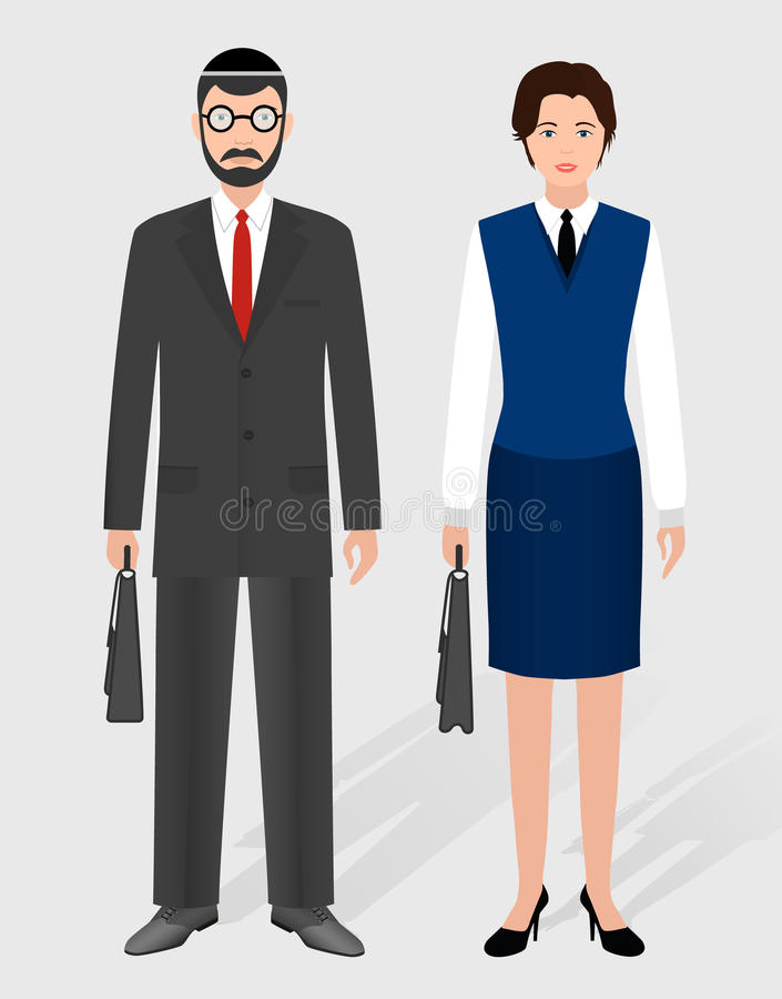 Business people concept. Couple of jewish businessman and businesswoman standing together. stock illustration