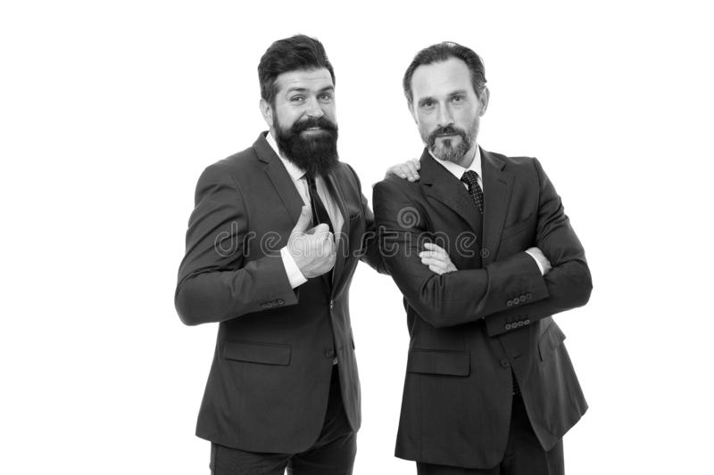 Business people concept. Men bearded wear formal suits. Well groomed business men. Partnership teamwork. Passionate stock photos