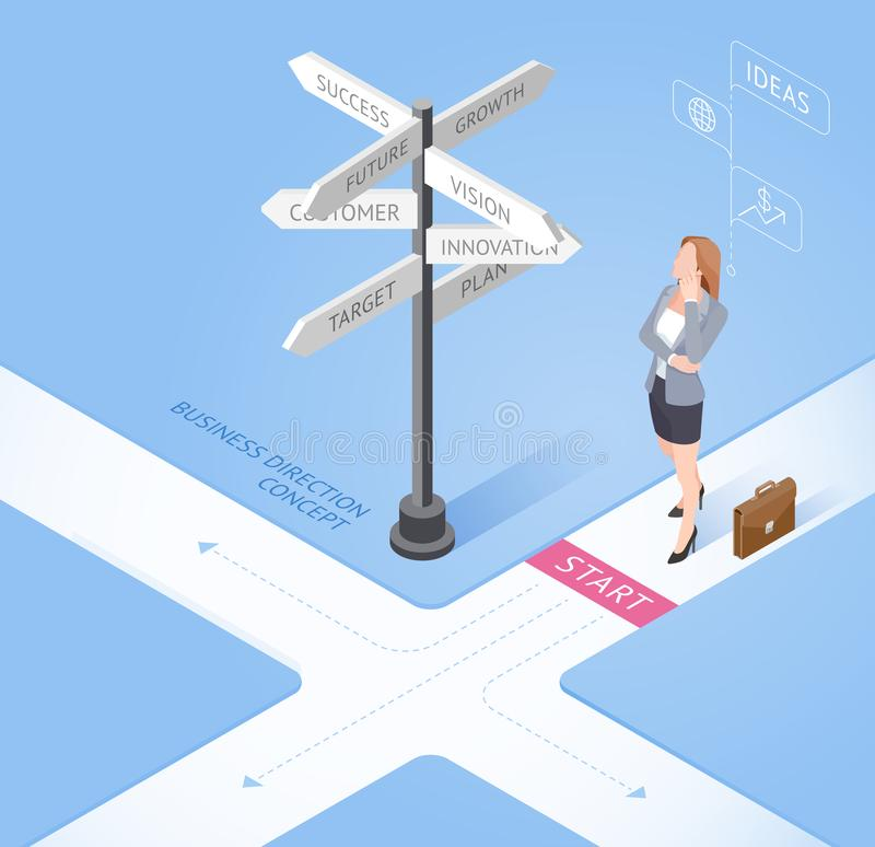 Business people concepts. Business woman standing at a crossroad and looking directional signs arrows. Isometric vector stock illustration