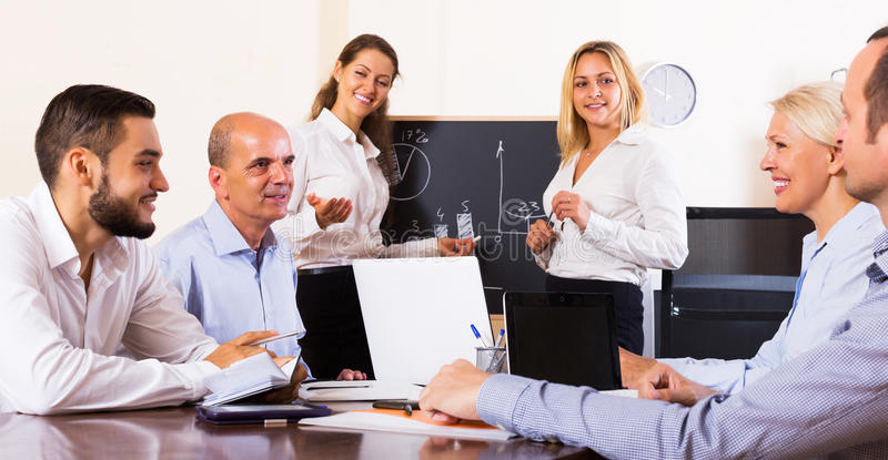 Business people during conference call stock photo