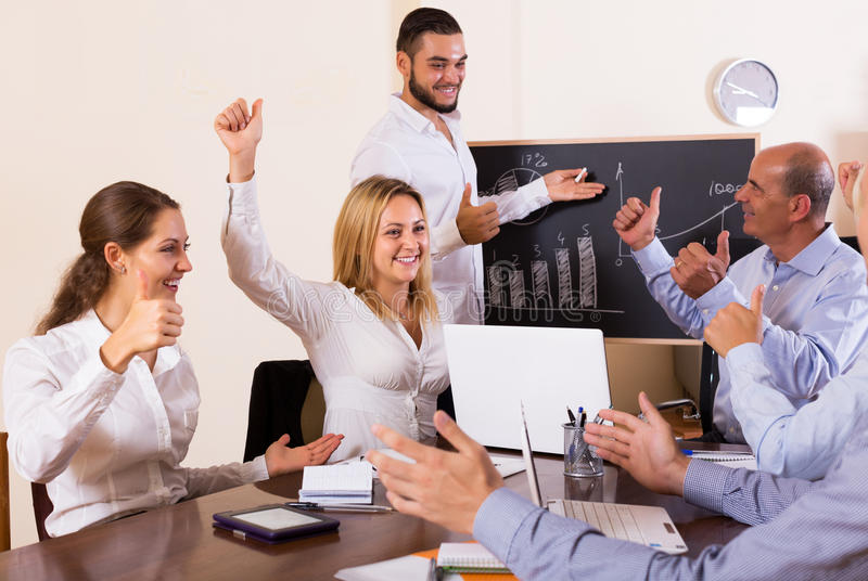 Business people during conference call. Successful business people during conference call indoors stock photos