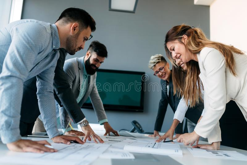 Business people conference in modern meeting room stock image
