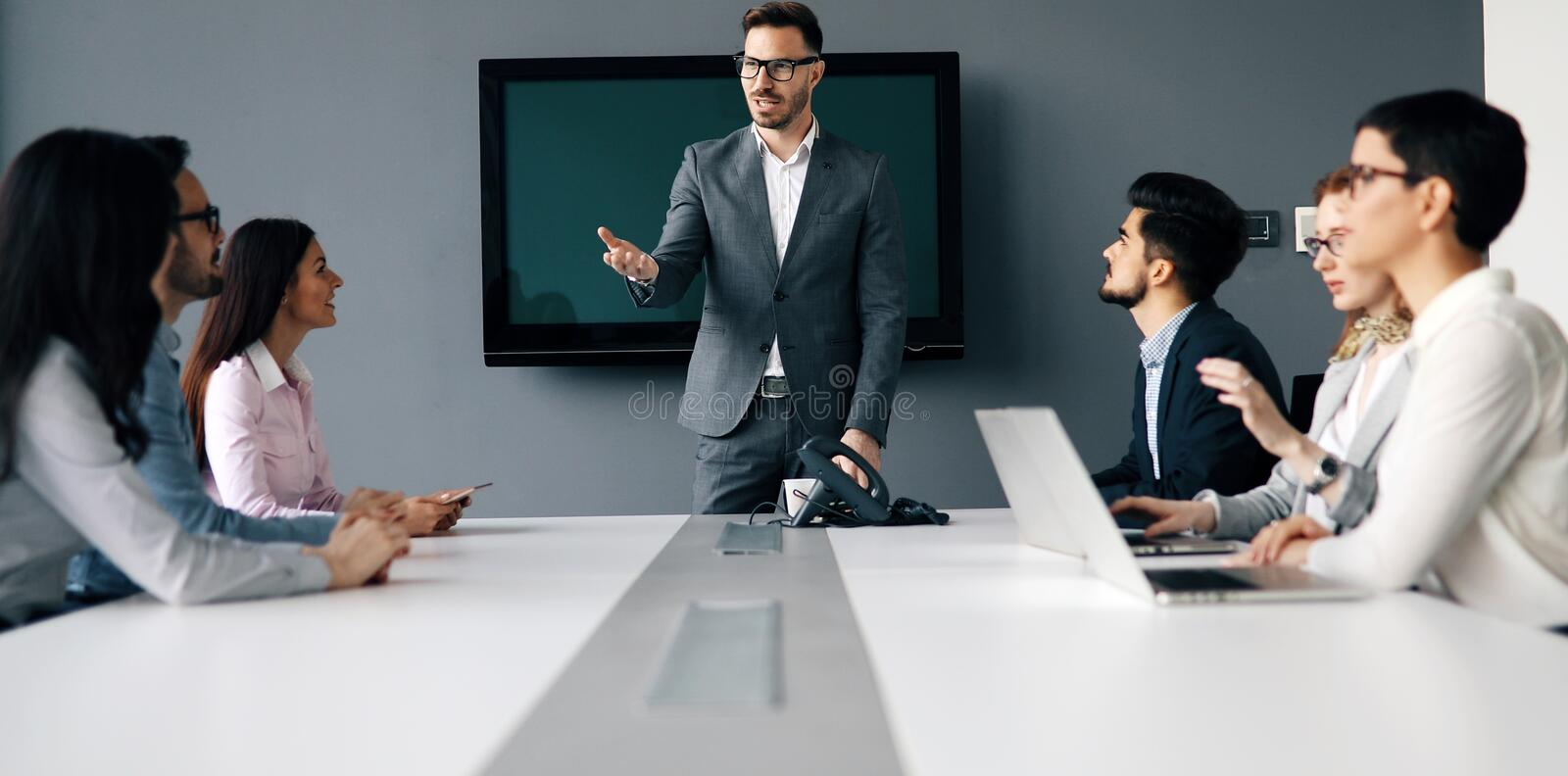 Business people conference in modern office. Business people conference and meeting in modern office royalty free stock photo