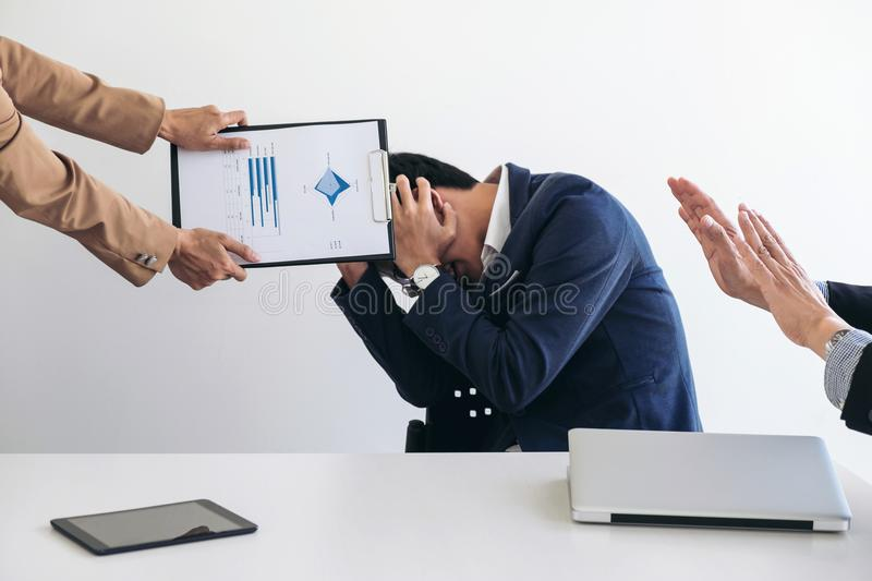 Business people conflict problem working in team turns into fight stock photography