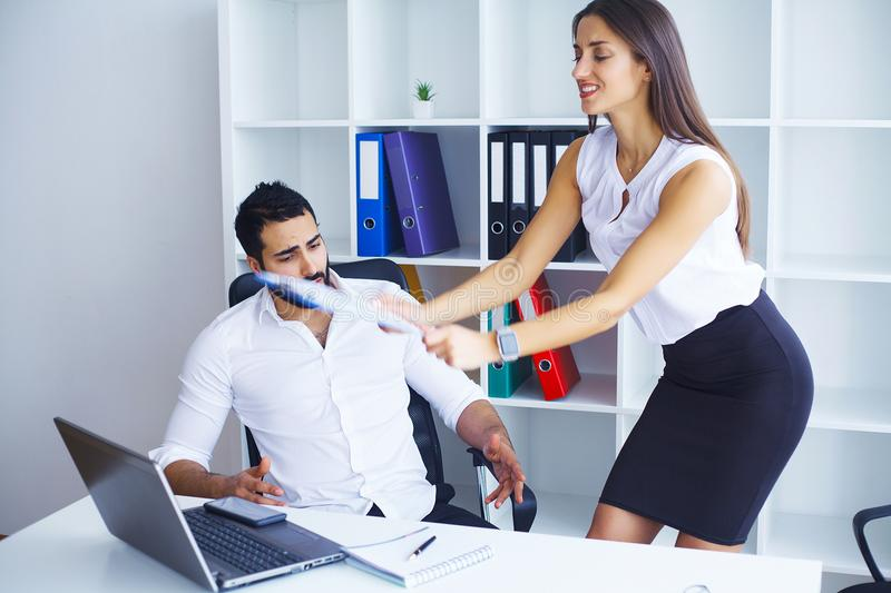 Business people conflict working problem, angry boss argue scream to colleague businessmen and women serious argument negative em royalty free stock photos