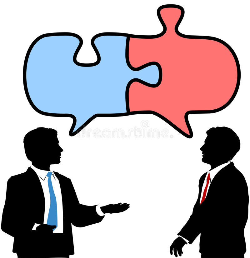 Business people connect collaborate puzzle talk. Two business people talk to find solution in puzzle shape speech bubbles stock illustration