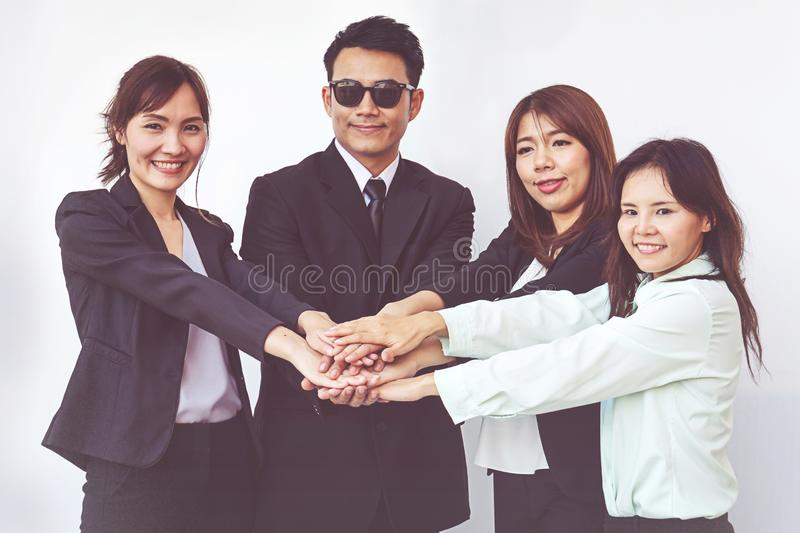Business people coordinate hands. Concept Teamwork stock photography
