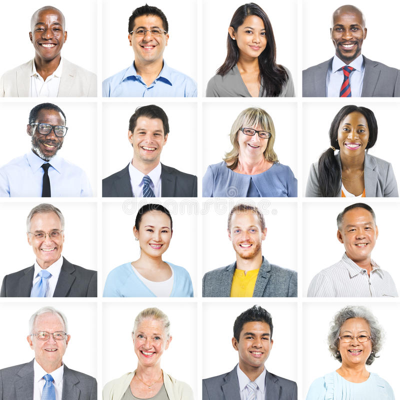 Business People Corporate Set of Faces Concept royalty free stock photography
