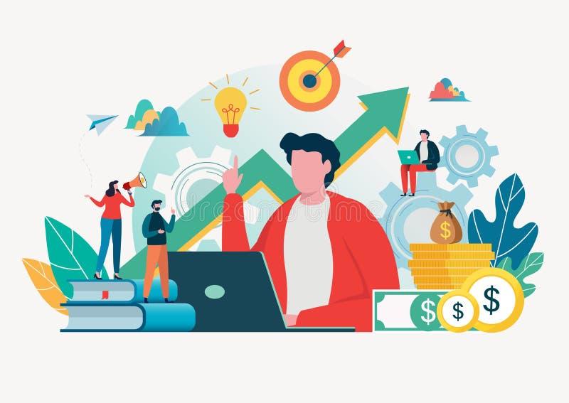 Business people create idea to success. Teamwork concept. Team building. Team metaphor. Vector illustration. Flat cartoon royalty free illustration