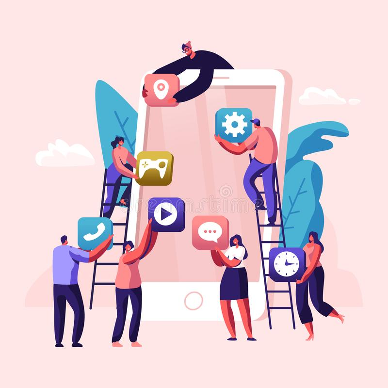 Business People Creative Team Putting App Icons on Huge Smartphone Screen. Designers Develop Application for Mobile Phone stock illustration